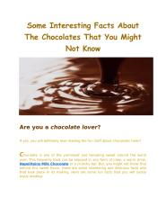 Some Interesting Facts About The Chocolates That You Might Not Know(23 Jan 2017).pdf