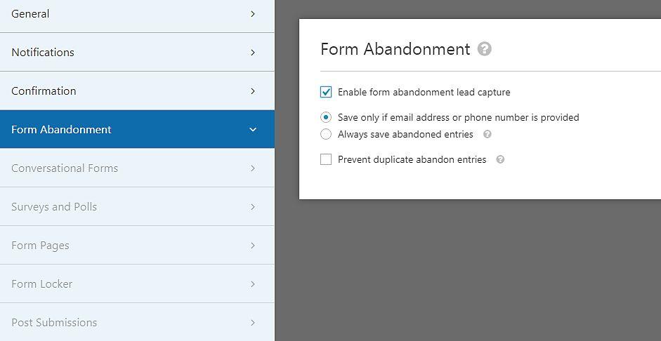 web form abandonment