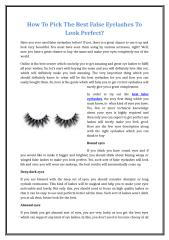 How To Pick The Best False Eyelashes To Look Perfect.doc