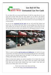 Get Rid Of The Unwanted Car For Cash.pdf