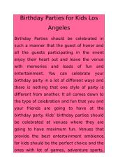 Birthday Parties for Kids Los Angeles.docx